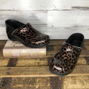 Dansko cheetah leopard print patent leather clogs
